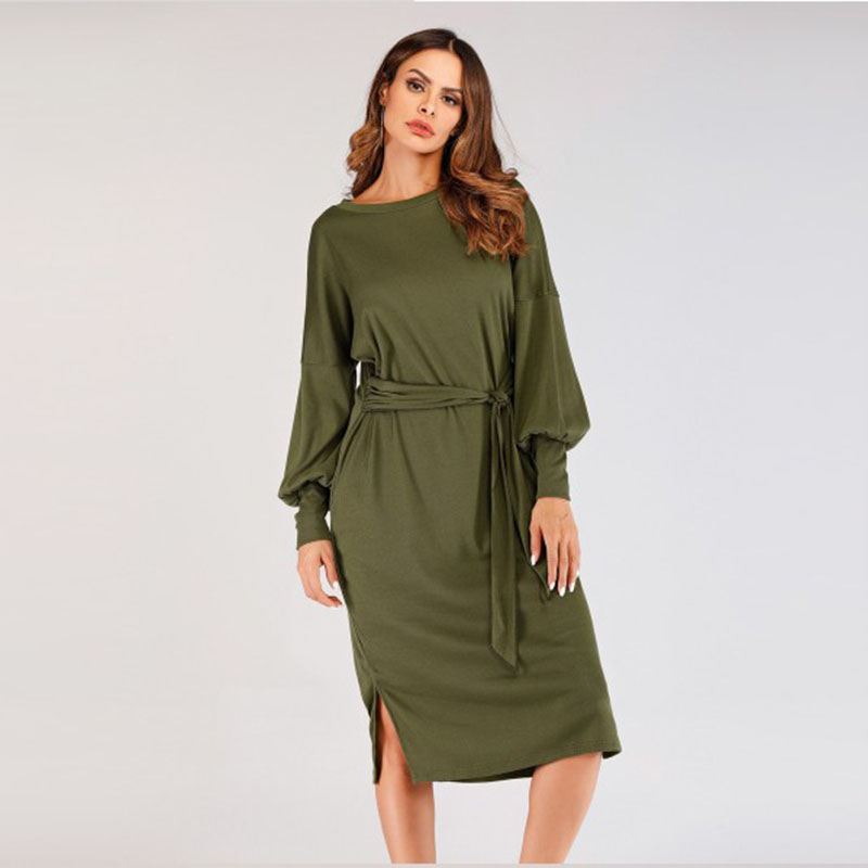 Sisjuly Straight Dress Vintage Women Retro Elegant Office Lady Fit And Flare Lantern Long Sleeve School Casual Sexy Midi Dresses