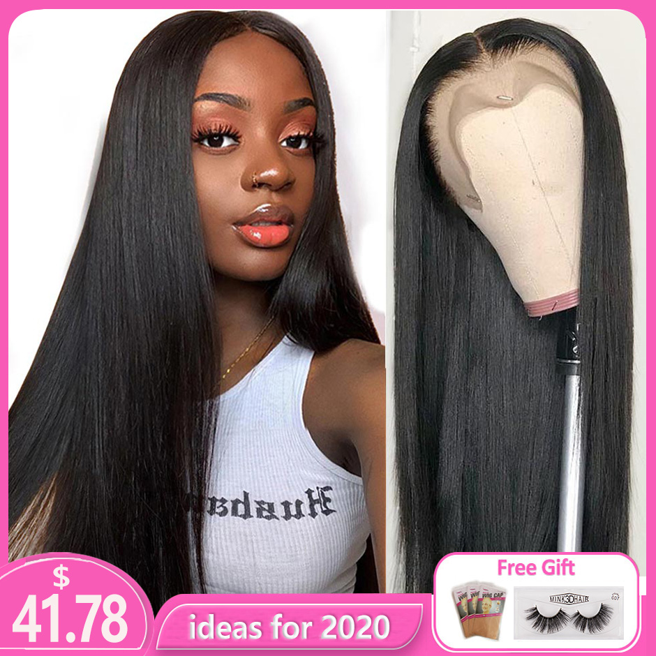 Lace Front Human Hair Wigs Remy Straight Hair PrePlucked Hairline Baby Hair 8-26 Inch 13x4 150% Real Human Hair Lace Front Wig L