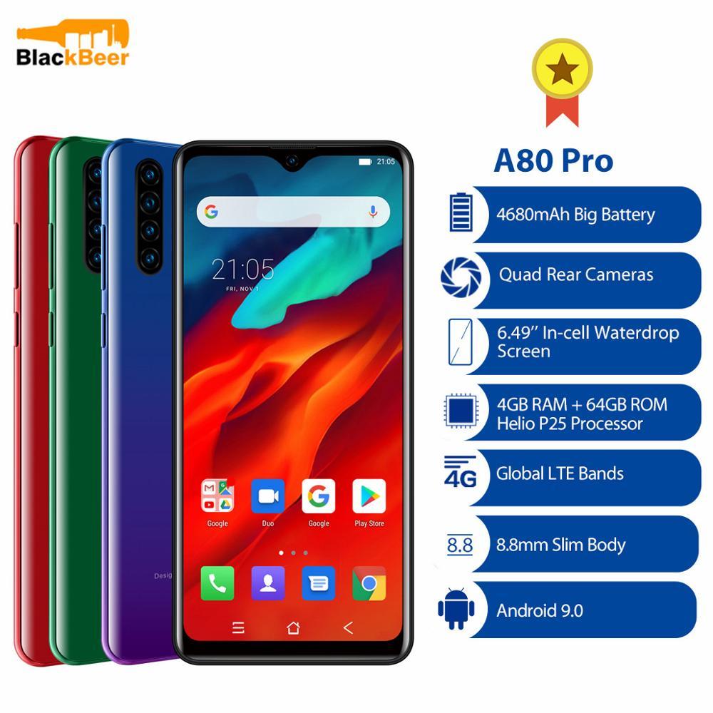"""Blackview a80 pro 6.49 """"smartphone 4 gb 64 gb octa núcleo android 9.0 4g lte celular quad câmeras traseiras versão global 4680 mah"""