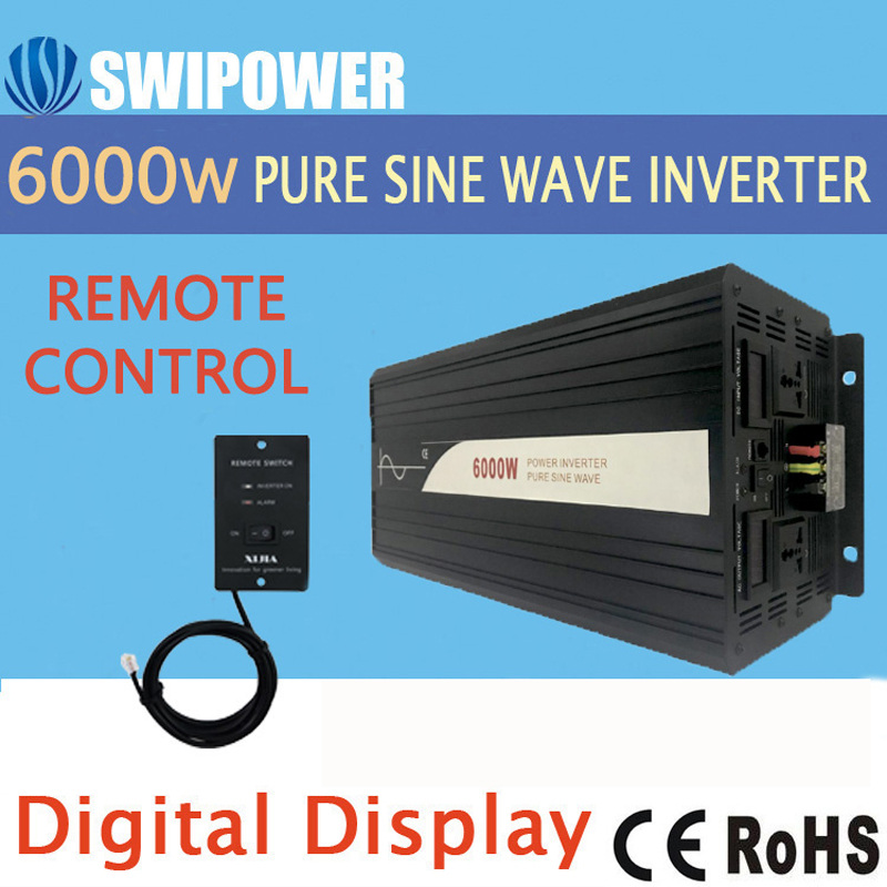 <font><b>6000W</b></font> (remote control) pure sine wave solar power <font><b>inverter</b></font> DC 12V <font><b>24V</b></font> 48V to AC 110V 220V digital display image