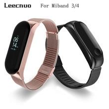 Leecnuo Xiaomi mi браслет 3 металлический браслет из нержавеющей стали Xiao mi ремешок 4 mi lanese магнит/Пряжка mi браслет 3/4