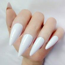 24 шт блестящие накладные ногти натуральные белые стилеты для