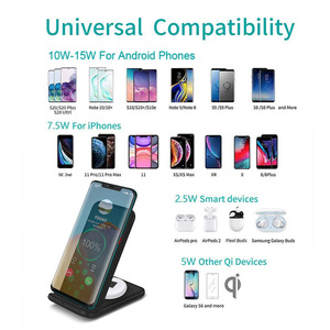 Image 5 - FDGAO 15W 2 in 1 Charging Dock Station for iPhone 11 XS XR X 8 Airpods Pro Qi Wireless Fast Charger Stand For Samsung S20 S10 S9