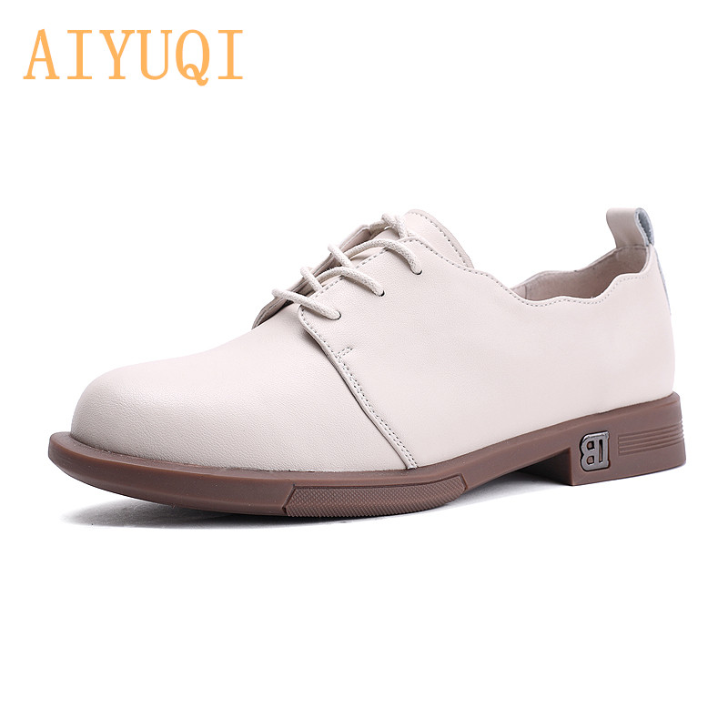 AIYUQI Ladies Spring Shoes 2020 New Lace-up Low-heeled Casual Shoes Women Genuine Leather Women's Shoes