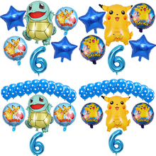 6Pcs/lot 32 inch Blue Balloon Cartoon Pokemon Pikachu Foil Balloons Age 1 2 3 4 5 6 7 8 Children Birthday Party Decoration Toys