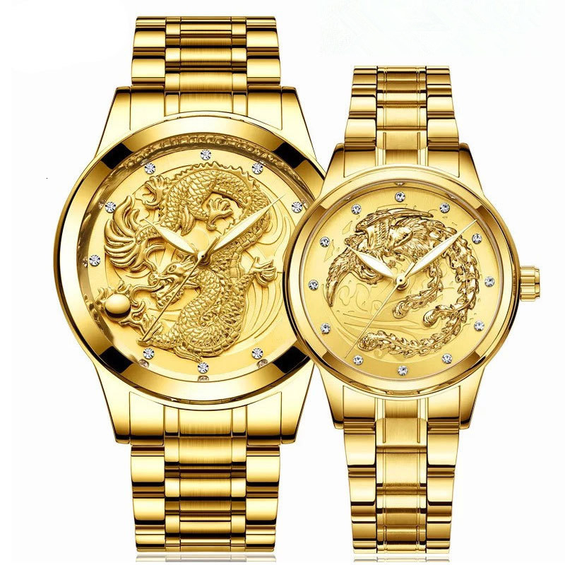 Top Brand Luxury Gold Men Mechanical Watch 3D CNC Life Waterproof Dragon Face Full Solid Watches Wristwatch Couple Watches