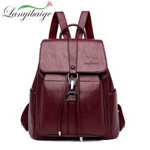 Image 1 - Women Backpacks mochila feminina school bag For Girls women traveling backpack Sac A Dos high quality leather ladys Shoulder Bag