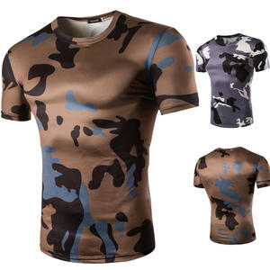 Summer men casual short sleeve T-shirt fashion camouflage color slim fit T-shirts Asian small size t-shirt coffee color gray