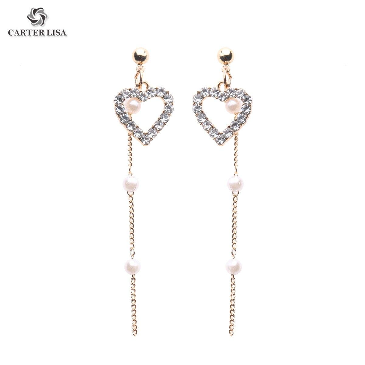 CARTER LISA Korea Small Fresh Pink Pearl Love Earrings For Women Sweet Crystal Heart Long Statement Drop Earrings Female Jewelry