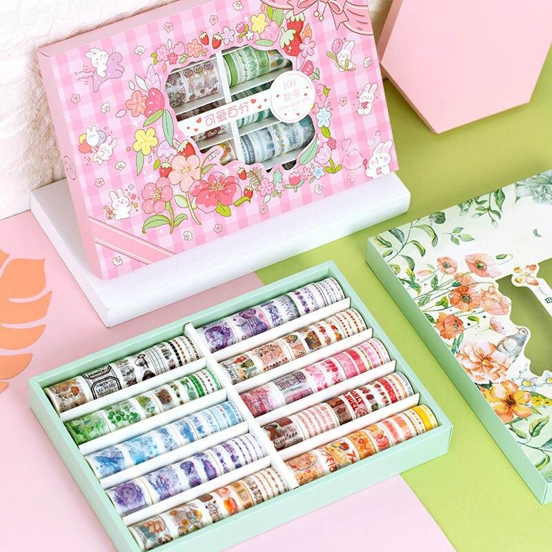 100 pcs set bonito animais fita washi kawaii planta fita adesiva decorativa fita adesiva adesivo recados