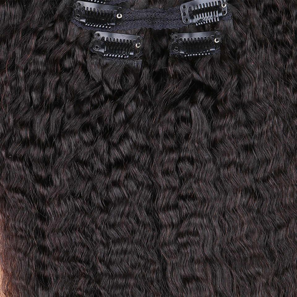 Clip In Human Hair Extensions Peruaanse Virgin Haar Kinky Steil Haar Natural Color Volledige Head Sets 120G 8 stuks/set