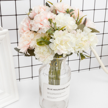Silk Hydrangeas Artificial Flowers High Quality White Wedding Flowers Small Bouquet Fake Flower Party Home for Decoration Pink artificial flowers small bouquet pink white silk flower wedding garden home decoration fake flower bouquet