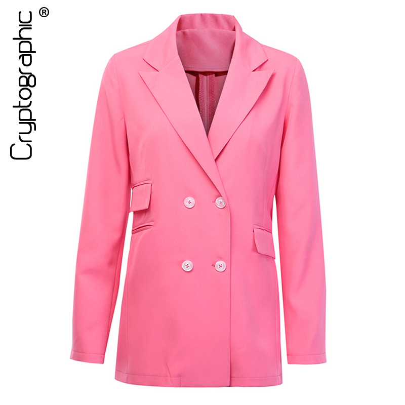 Cryptographic Fashion Pink Jackets For Women Double Breasted Blazers With Pocket Fashion Fall 2019 Casual Female Jacket Outwears