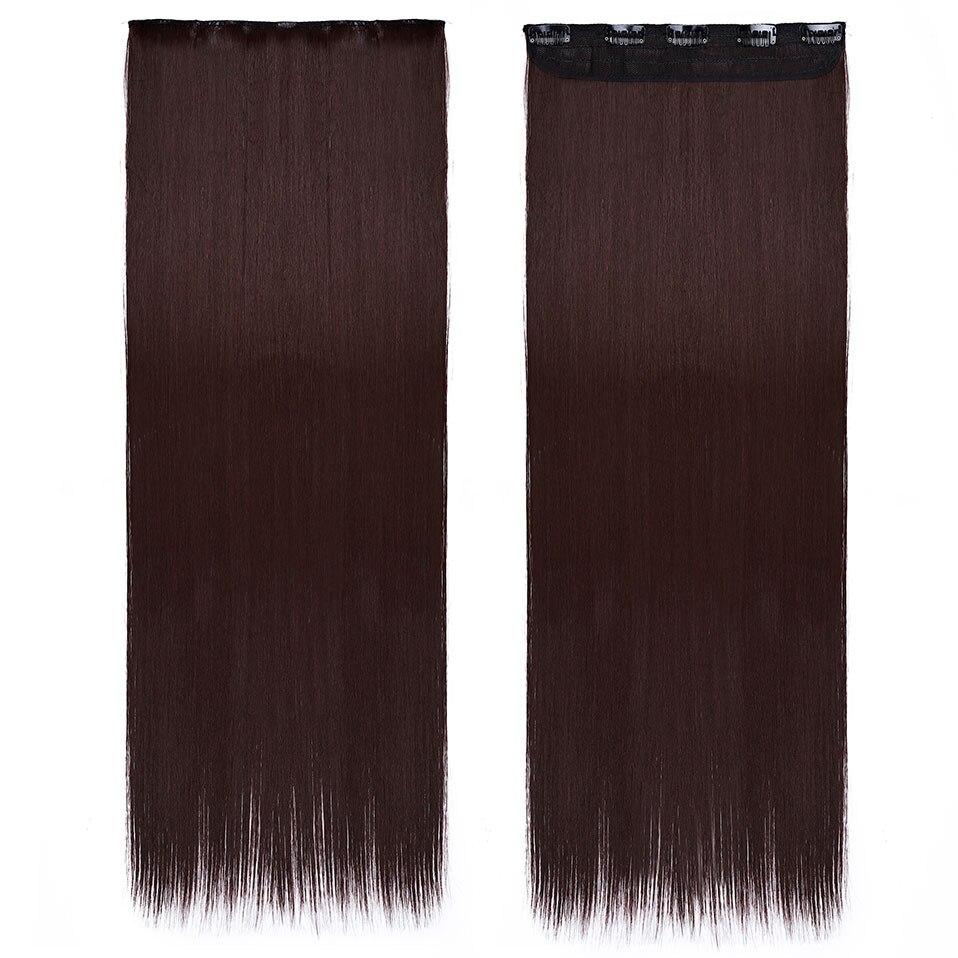 S-noilite, накладные волосы на заколках, черный, коричневый, натуральные, прямые, 58-76 см, длинные, высокая температура, синтетические волосы для наращивания, шиньон - Цвет: wine red