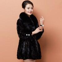 Real Luxury 2020 Fur Coat Mink Coats Women Winter Warm Female Jacket Fur Coats Natural Fox Fur Collar Plus Size WYQ992 s s