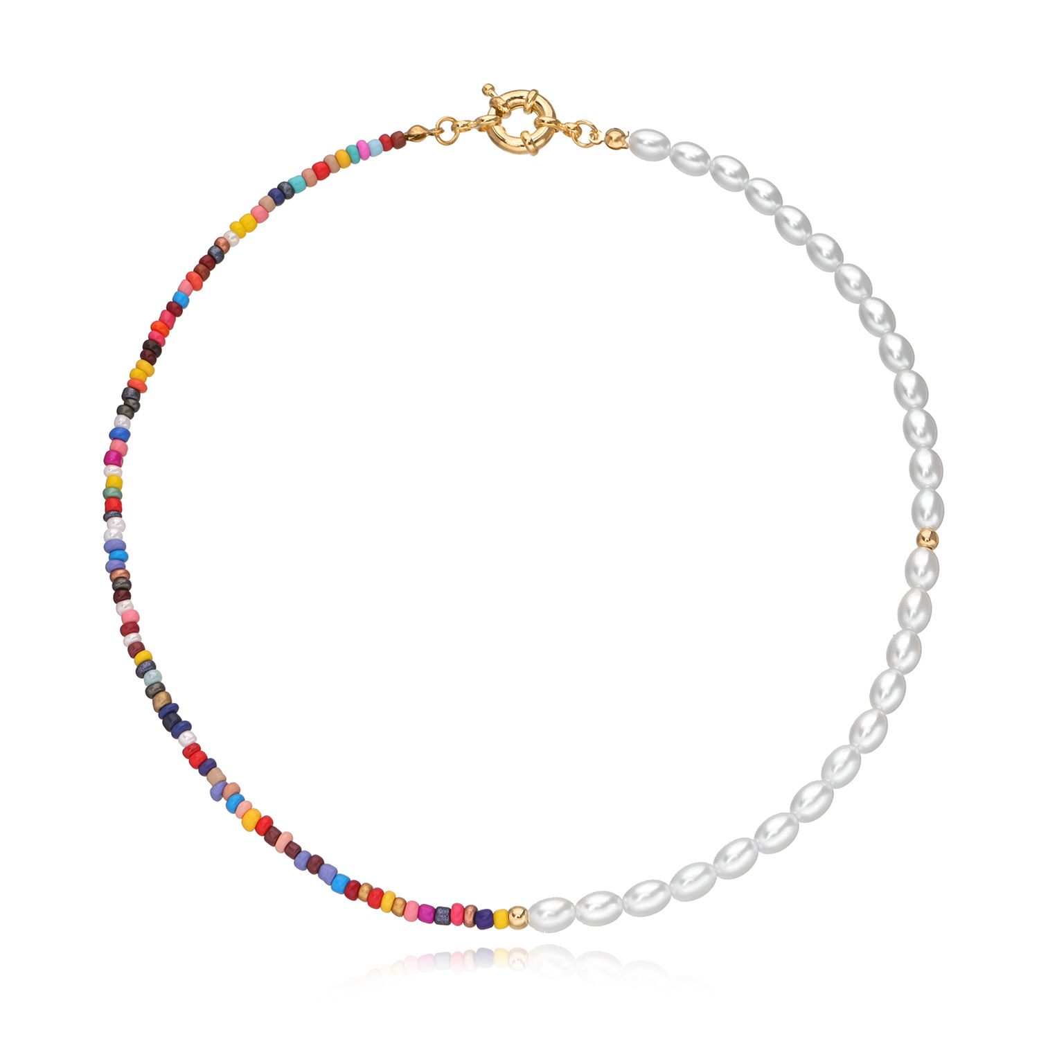 Colorful Rice Beads Imitation Pearls Necklace for Women Gold Silver Color Fish Line Necklaces Female 2020 Fashion Jewelry New
