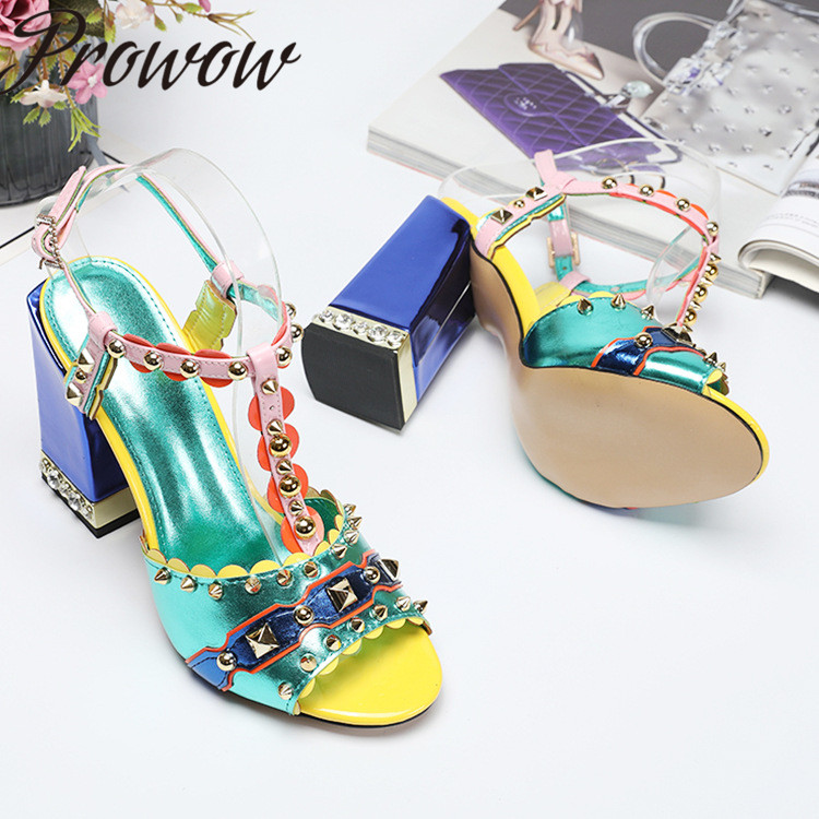 Prowow New Printed Floral Metal Studded HIgh Heel Sandas Open Toe Buckle Strap Thick Heel T Strap Summer Sandals Shoes Women
