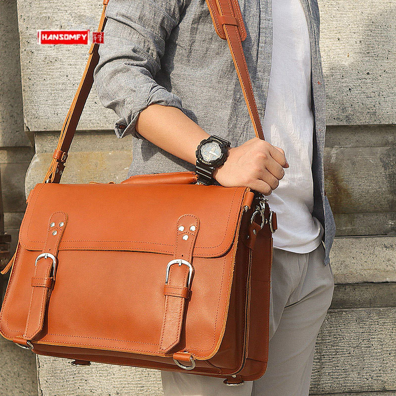 Retro Crazy Horse Leather Men's Bag Large Capacity Male 15.6 Inch Laptop Handbag Business Briefcase Men Shoulder Tote Bags