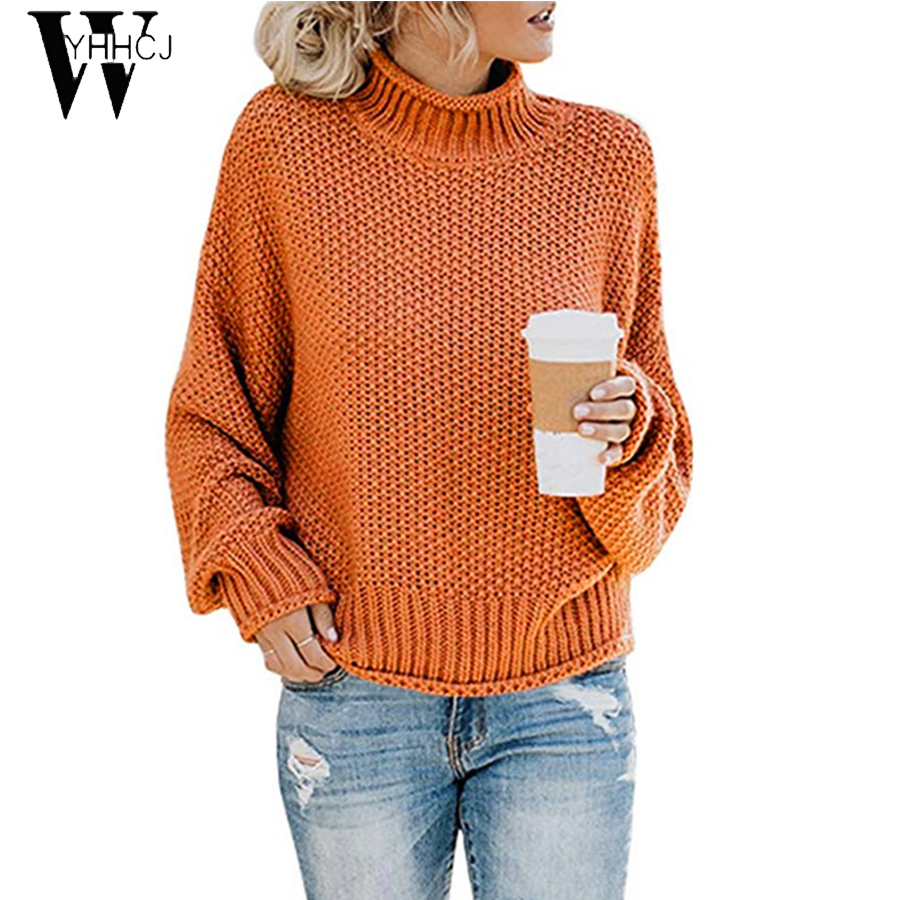 WYHHCJ 2019 New Women Casual Loose Sweater Autumn Winter Turtleneck Knitted Jumpers Long Sleeve Crocheted Pullovers Streetwear