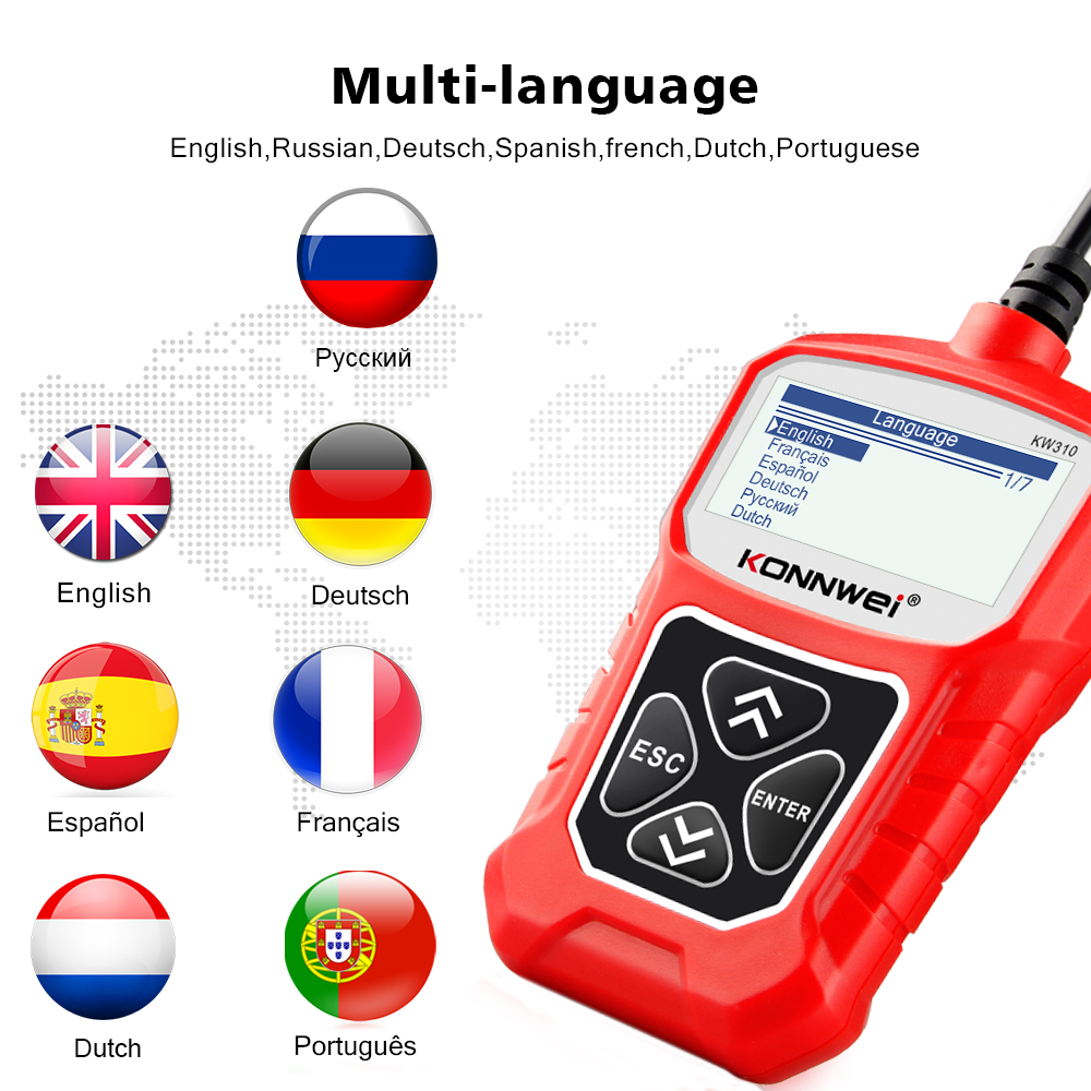 lowest price KONNWEI KW310 OBD2 Scanner  Russian Language Car Diagnostics Tool OBD 2 Car Scanner for Auto ODB2 Car Tools Better Than ELM327