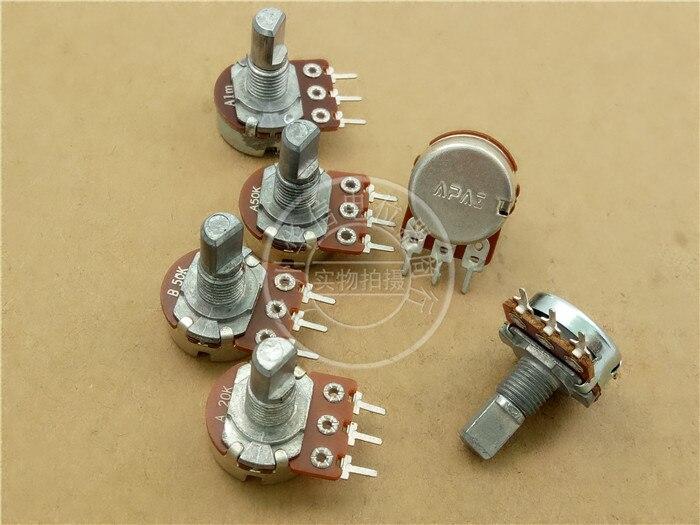 40 pièces/lot pour APAI 148 potentiomètre simple A20K A50K anti-poignée longueur 15MMF étape 41 points