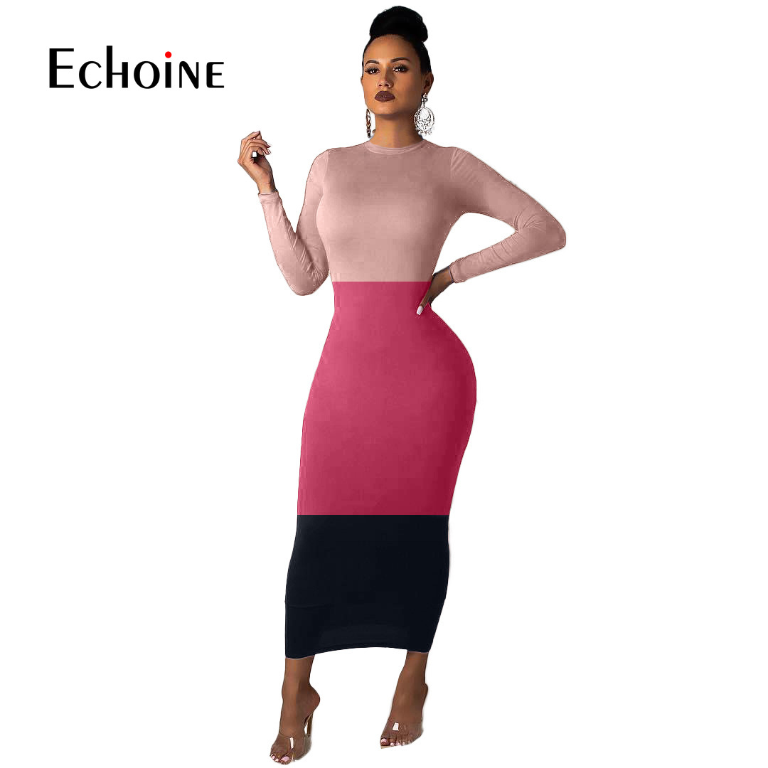 Fashion Elegant Fall Winter Women patchwork long sleeve o-neck <font><b>Ladies</b></font> maxi <font><b>dress</b></font> 2019 New <font><b>sexy</b></font> club night long <font><b>dresses</b></font> vestidos image