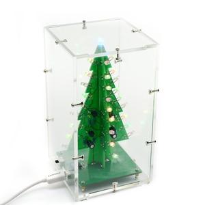 Image 4 - UNISIAN Colorful 3D Christmas Tree DIY Kit with Acrylic Shell Christmas Gift Electronic Fun DIY Suite Flash LED interesting Kit