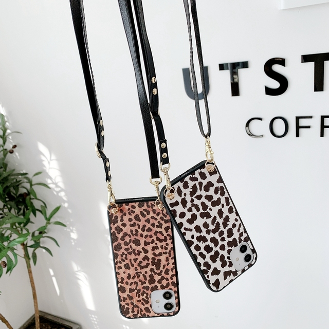 Fashion Luxe Leopard Telefoon Case Crossbody Ketting Koord Lanyards Touw Voor Samsung Galaxy A31 A51 A71 A70 A50 A10 E m10 Cover
