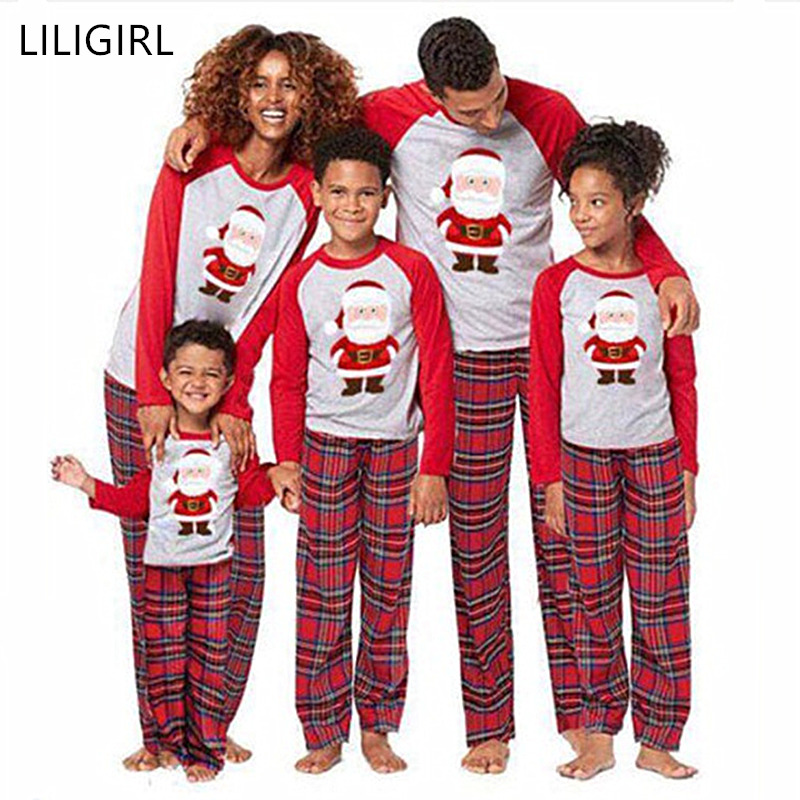 LILIGIRL Cotton Family Matching Clothes Christmas Pajamas Set Family Look Clothing Adult Kids Pajamas Baby Romper Xmas Sleepwear