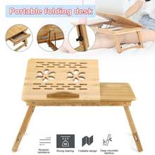 Shelf Table Laptop-Tray-Stand Bamboo Bed Desk-Book Dormitory Computer Folding
