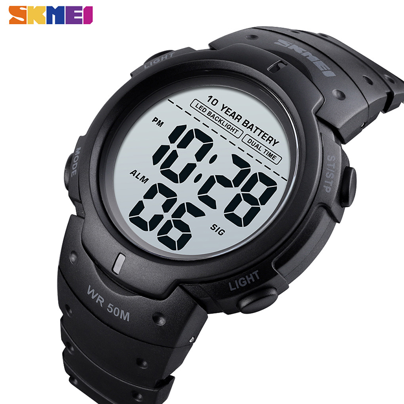 SKMEI Watch Men Alarm-Clock LED Ten-Year-Battery Digital Dual-Time Waterproof 24-Hours