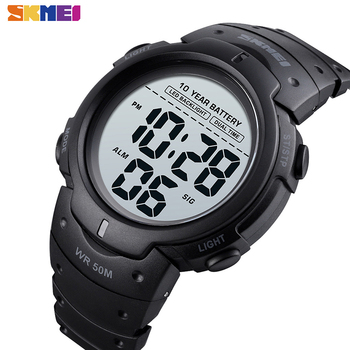 SKMEI LED Dual Time Watch Men Ten Year Battery Digital Mens Wristwatches Waterproof 12 24 Hours Alarm Clock montre homme 1561