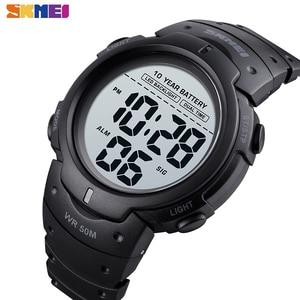 SKMEI LED Dual Time Watch Men Ten Year Battery Digital Mens Wristwatches Waterproof 12 24 Hours Alarm Clock montre homme 1561