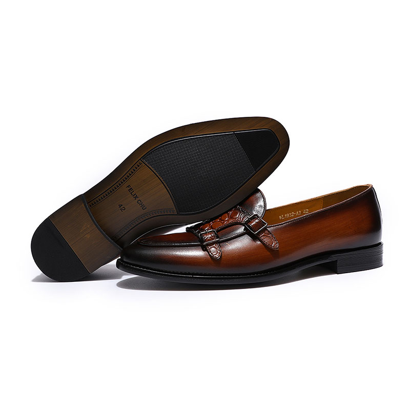 Image 3 - FELIX CHU Luxurious Mens Double Monk Strap Loafers Genuine  Leather Brown Green Mens Casual Dress Shoes Slip On Wedding Men  ShoeMens Casual Shoes