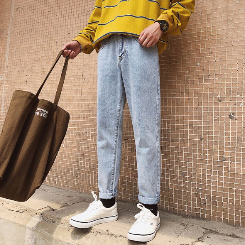 Autumn Pendant Sense Wide-Leg Jeans Men Popular Brand Capri Pants Loose Straight Dad Pants Men's Korean-style Trend