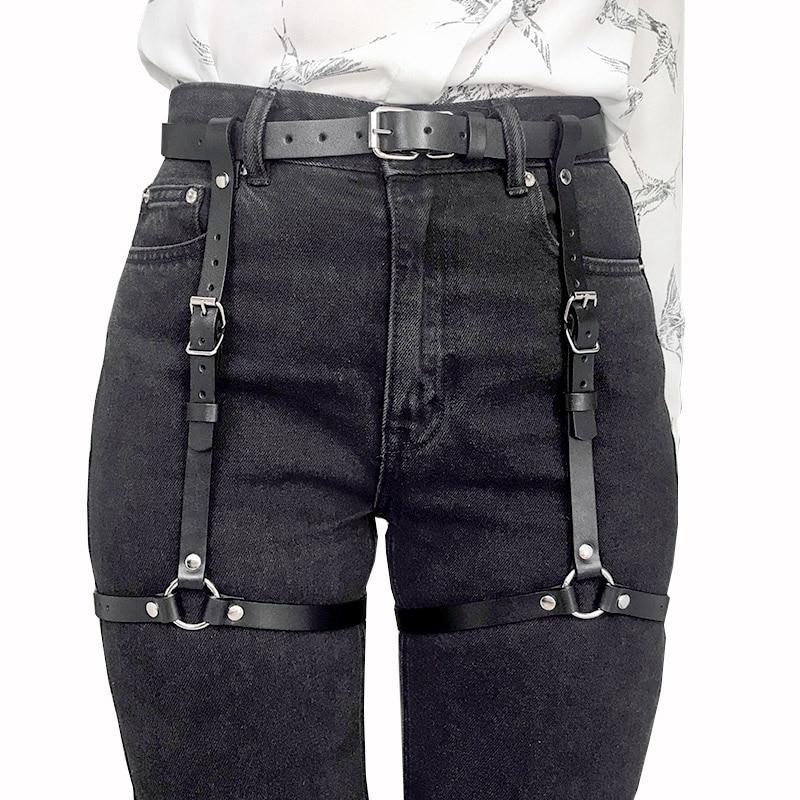 Punk Black Leather Sword Belt Waist Garter Handmade Body Bondage Sexy Leg Suspenders Harness Stockings Belts For Women