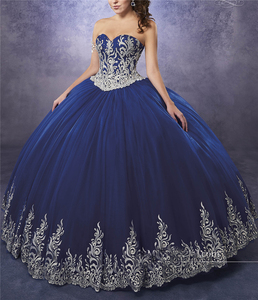 Image 1 - Quinceanera Dresses 2020 Sweep Train Sweetheart Neckline Appliques Embroidery Pageant Gown Luxury Crystal Corset Sweetheart 16