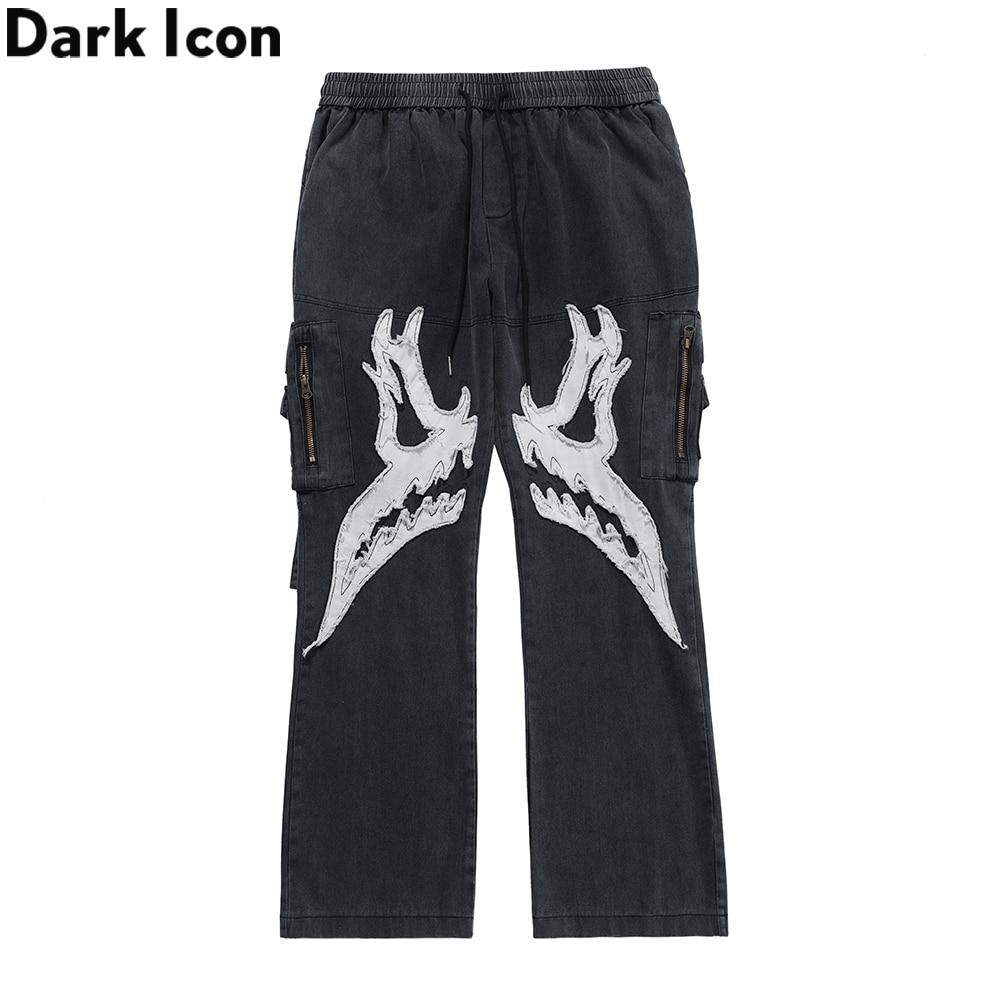 Dark Icon Patched Side Pockets Cargo Flare Pants Men Women Elastic Waist Street Fashion Men's Pants