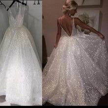 Блестящие Свадебные платья с v-образным вырезом и блестками, сексуальные свадебные платья с открытой спиной, свадебное платье для невесты, платье трапециевидной формы на заказ