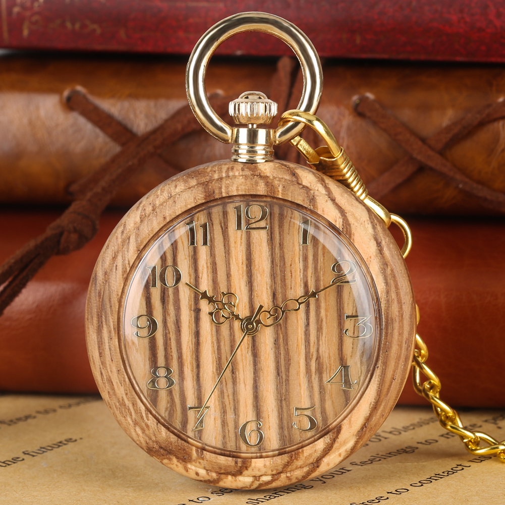Retro Wooden Quartz Pocket Watch For Women Men Round Dial Pendant Chain Watches