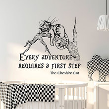 Alice In Wonderland Wall Sticker Quote Cat Sayings Wall Decals Vinyl Home Decor Nursery Kids Room Bedroom Murals Removable 3645 цена