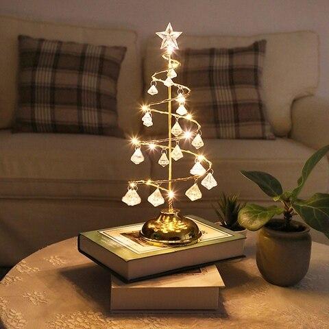led luzes de natal luzes da arvore de natal de cristal quarto quarto lampada de