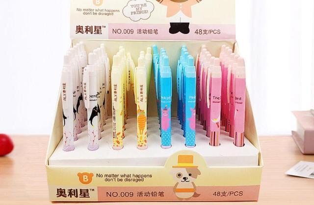 Korea mooie animal vogel pinguïn Vulpotlood Student Potlood Automatische Pen Voor Kid School Office schrijven Supply 48 stk/partij