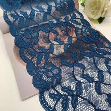 3y/lot 23.5cm Bates Motel Blue Elastic Stretch Lace trim For Clothes Skirt Hem Underwear Sewing Craft DIY Apparel Fabrics