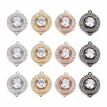 LOULEUR Luxury Big Crystal Zirconia Necklaces Copper Bracelet Earrings Charms Round Connectors Jewelry Findings Components