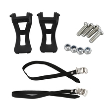 1 Pair Cycling Road Bike Mountain Bicycle Toe Clips + Straps For Pedals Black