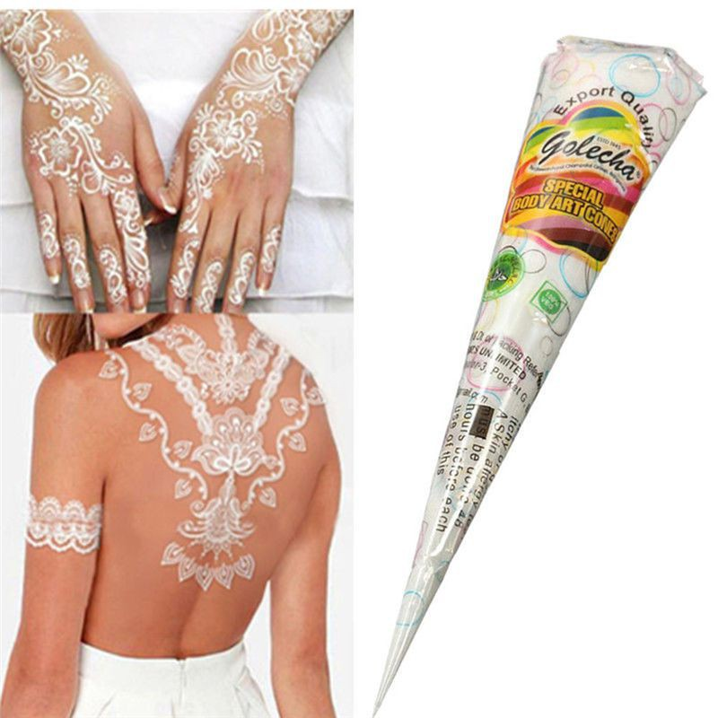 Indian Henna Paste White Color Tattoo Ink DIY Finger Body Cream Paint Temporary Tattoo Stencil Maquiagem W