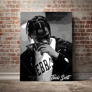 Impressão modular travis scott imagem da lona rap cantor pintura cartaz famoso personagem decoração de casa arte da parede sem quadro quarto
