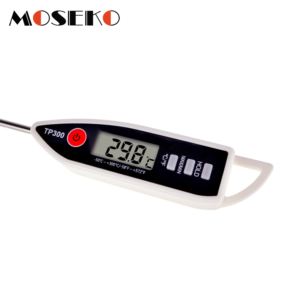 MOSEKO Newest Digital Food Thermometer for Cooked Food Barbecue and Milk with LCD Display and Temperature Control Key and Stainless Steel Probe