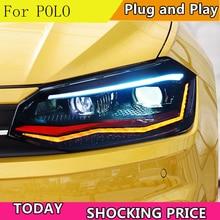 Автомобильный Стайлинг для VW Polo фары- Polo светодиодный фонарь DRL фара ближнего света дальнего света все светодиодный аксессуары